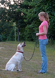 Heather with yellow Lab